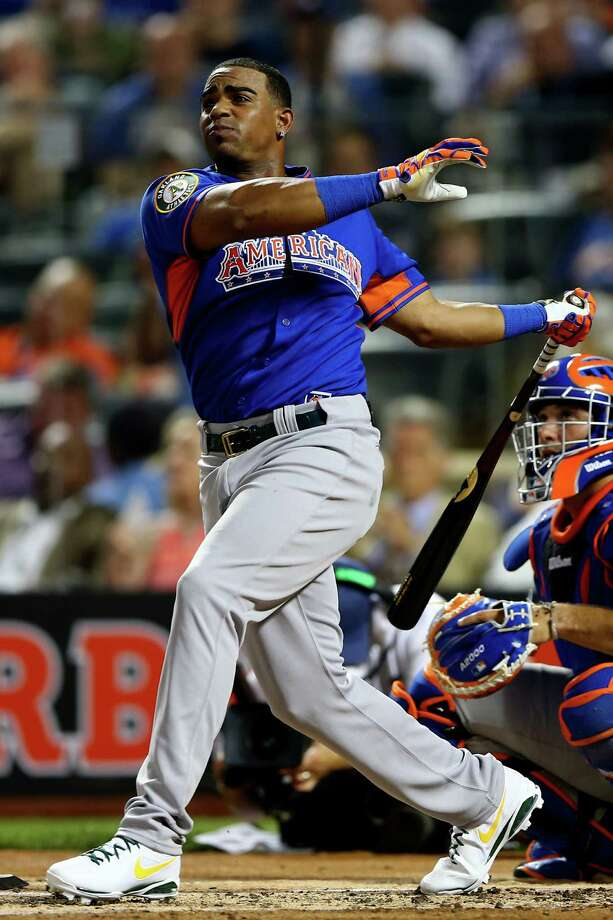 NEW YORK, NY - JULY 15:  Home run Derby participant Yoenis Cespedes bats during the Chevrolet Home Run Derby on July 15, 2013 at Citi Field in the Flushing neighborhood of the Queens borough of New York City.  (Photo by Elsa/Getty Images) ORG XMIT: 173341511 Photo: Elsa / 2013 Getty Images