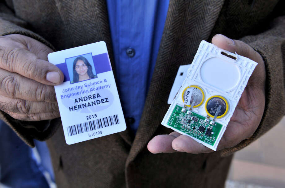 Steve Hernandez's daughter Andrea sued Northside ISD over its badges with radio frequency identification technology. Photo: San Antonio Express-News File Photo