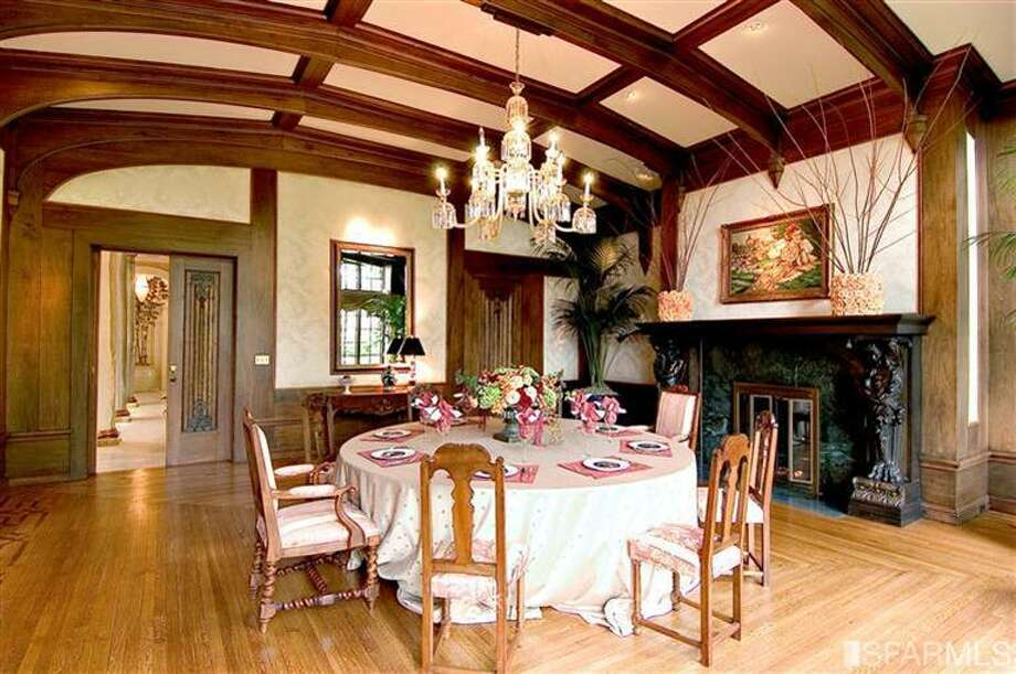 Classic beamed ceiling in very formal dining room. Steven Mavromihalis, Pacific Union International