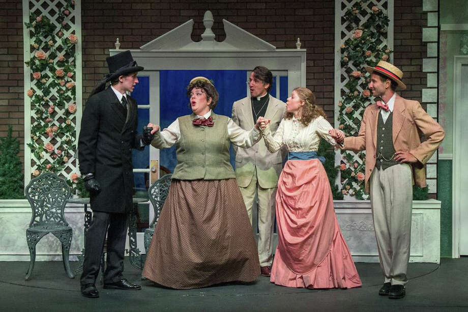 """Earnest or Whatís in a Name?î -- with book, music, and lyrics by Leonard Diamond -- is on stage at TheatreWorks New Milford through Aug. 3. Left to right are Ian Maitland as Jack, Beth Bonnabeau as Miss Prism, Fred Rueck as the Rev. Chausuble, Becca Myhill as Cecily, and Charles Roth as Algernon. For tickets, call 860-350-6863 or visit  www.theatreworks.us Photo: Contributed Photo"