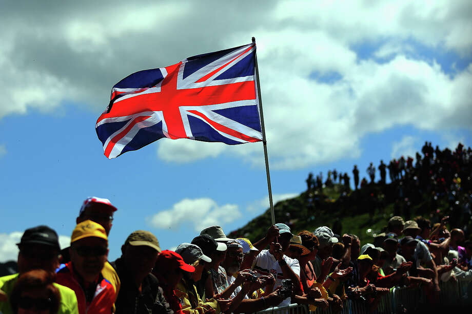 A Union Jack flag flies high during stage eight of the 2013 Tour de France, a 195KM road stage from Castres to Ax 3 Domaines, on July 6, 2013 in Ax 3 Domaines, France. Photo: Bryn Lennon, Getty Images / 2013 Getty Images