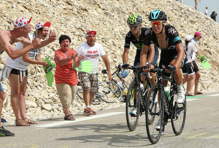 Richie Porte of Australia and Team Sky Procycling, Alejandro Valverde of Spain and Movistar Team in action during stage fifteen of the 2013 Tour de France, a 242.5KM road stage from Givors to Mont Ventoux, on July 14, 2013 in Mont Ventoux, France. Photo: John Berry, Getty Images / 2013 John Berry