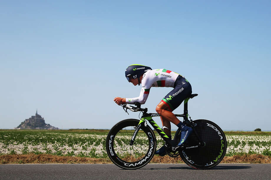Rui Costa of Portugal and Movistar Team rides during stage eleven of the 2013 Tour de France, a 33KM Individual Time Trial from Avranches to Mont-Saint-Michel, on July 10, 2013 in Mont-Saint-Michel, France. Photo: Bryn Lennon, Getty Images / 2013 Getty Images
