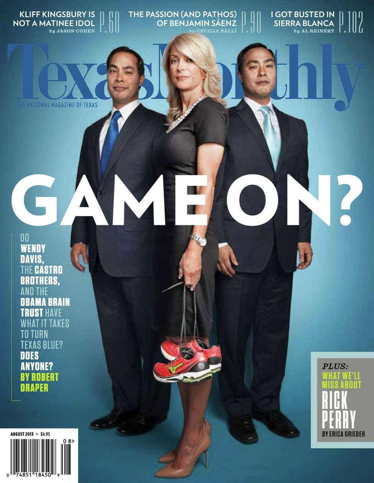 The August 2013 cover of Texas Monthly magazine, featuring San Antonio Mayor Julian Castro, left, State Senator Wendy Davids, and U.S. Representative Joaquin Castro, is seen in an image taken from the magazine's Twiiter feed.