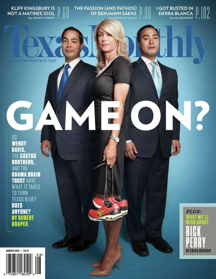 The August 2013 cover of Texas Monthly magazine, featuring San Antonio Mayor Julian Castro, left, State Senator Wendy Davids, and U.S. Representative Joaquin Castro, is seen in an image taken from the magazine's Twiiter feed. Photo: COURTESY, COURTESY TEXAS MONTHLY / COURTESY TEXAS MONTHLY