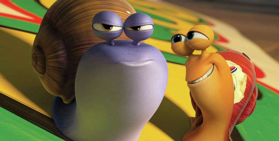 "This film publicity image released by DreamWorks Animation shows Chet, voiced by Paul Giamatti, left, and Turbo, voiced by Ryan Reynolds in a scene from the animated movie ""Turbo."" (AP Photo/DreamWorks Animation) ORG XMIT: NYET327 / DreamWorks Animation"