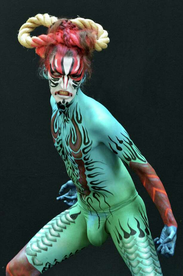 A participant poses with her body paintings designed by bodypainting artist Ai Susuga during the 16th World Bodypainting Festival in Poertschach on July 6, 2013 in Poertschach am Woerthersee, Austria. Photo: Didier Messens, Getty Images / 2013 Didier Messens