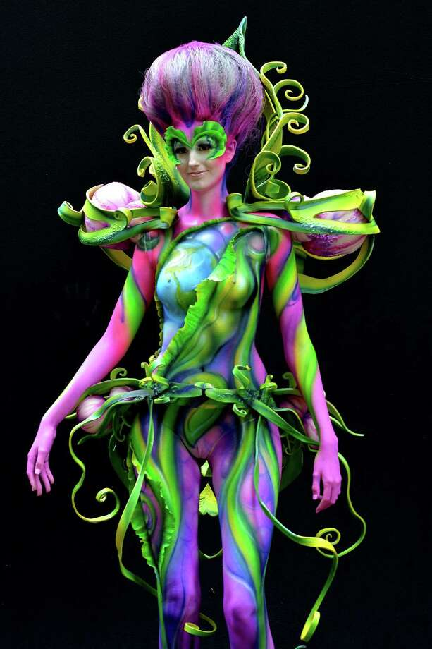 A participant poses with her body paintings designed by bodypainting artist Tatiana Tsemko during the 16th World Bodypainting Festival in Poertschach on July 6, 2013 in Poertschach am Woerthersee, Austria. Photo: Didier Messens, Getty Images / 2013 Didier Messens