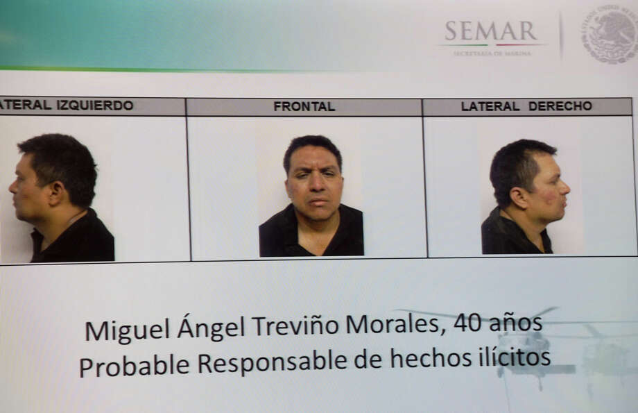 """With the arrest of Miguel AngelTrevino Morales, 40, the leader of the Mexican drug cartel, Los Zetas, renewed attention is being put on the brutal gang.Above: A picture taken from a screen of the alleged leader of the drug Mexican cartel """"Los Zetas"""", Miguel Angel Trevino Morales, presented in combo pictures during a press conference at the headquarters of the Interior Ministry on July 15, 2013 in Mexico City. According to a spokesman Trevino was arrested early morning during a military operation en Nuevo Laredo. Photo: YURI CORTEZ, AFP/Getty Images / 2013 AFP"""
