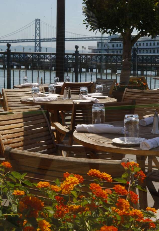 The Waterfront restaurant has a view of Pier 7 and the Bay Bridge in San Francisco.