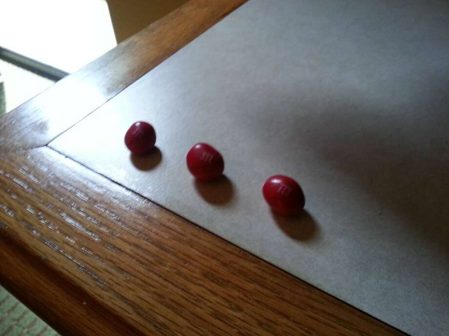 I was quite confused when I walked in and saw three single red M&Ms.