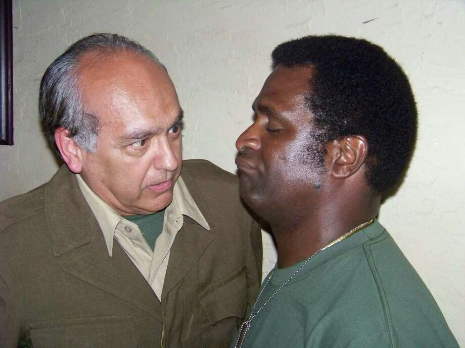 """Robert Dale Hernandez ( left) and Ronnie Harris appear in Bulverde S.T.A.G.E.'s """"Studs Terkel's The Good War."""" Photo: Courtesy Michael Simpson"""