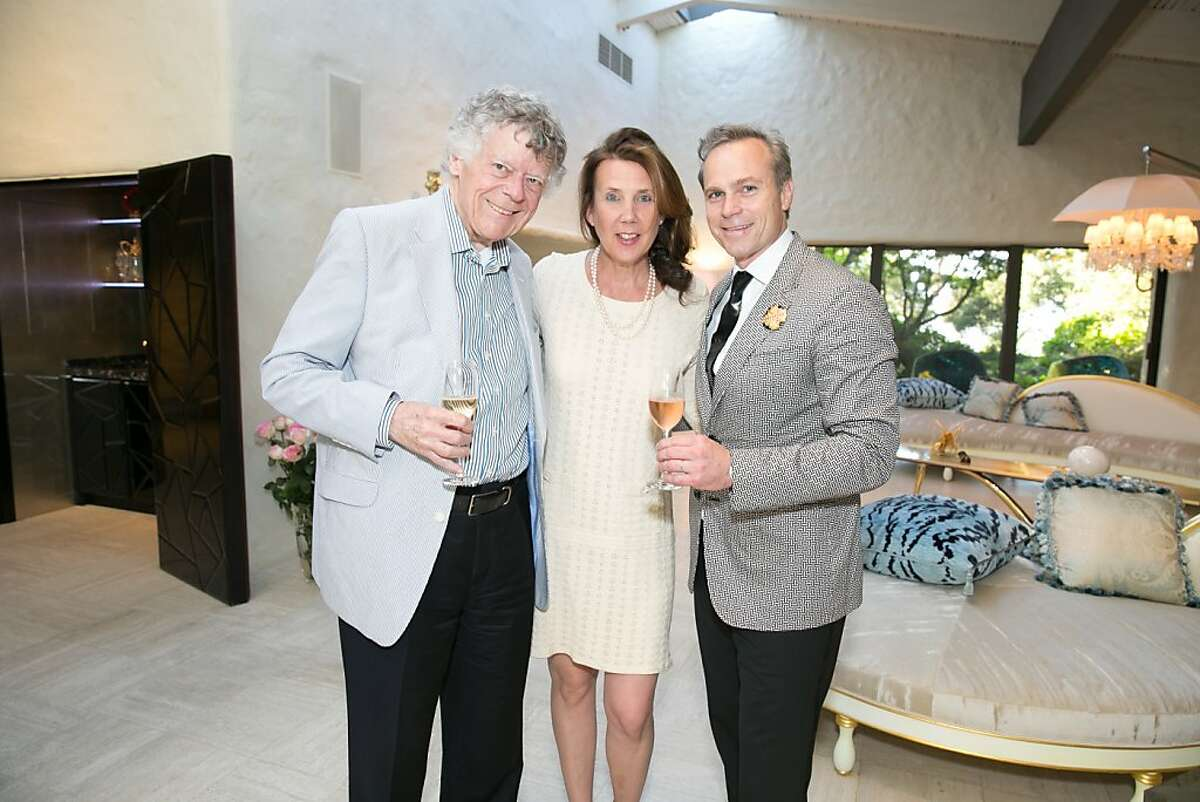 Composer Gordon Getty (at left) with vintners Gina Gallo and her husband, Jean-Charles Boisset, at the Festival del Sole Founders' Dinner. July 2013. By Moanalani Jeffrey.