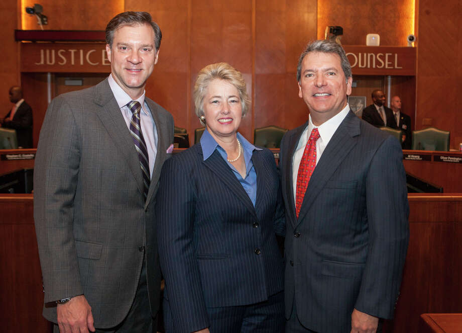 Mayor Annise Parker stands with Houston Arts Alliance board members David LaDuca and Roland Garcia. Photo: Provided By Houston Arts Alliance
