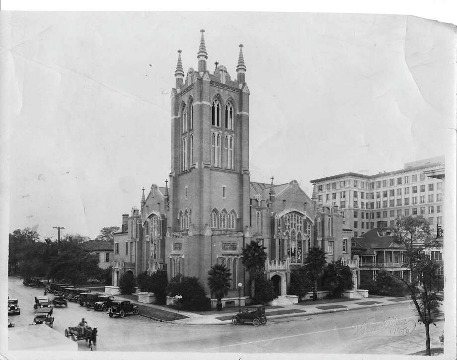 First Methodist has been an integral part of Houston for most of the city's history, its tower dominating the neighborhood in this 1922 photograph. Photo: First United Methodist
