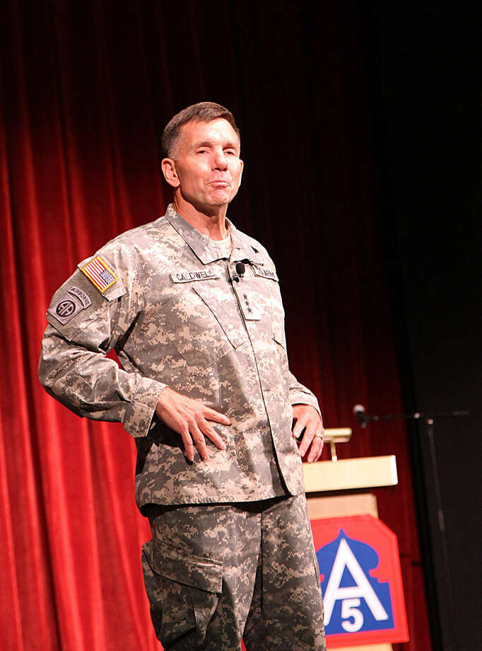 Lt. Gen. William Caldwell IV, commanding general, U.S. Army North (Fifth Army), and senior commander of Joint Base San Antonio-Fort Sam Houston and Camp Bullis, thanks soldiers and civilians of Army North July 3 during the command's quarterly recognition ceremony and town hall meeting. Photo: U.S. Army