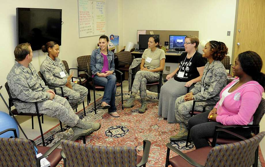 Expecting mothers meet and discuss their prenatal care June 12 during a Centering Pregnancy appointment at Wilford Hall Ambulatory Surgical Center's OB/GYN Clinic. Photo: U.S. Air Force