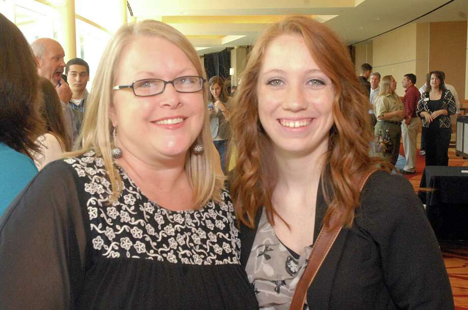 The Cynthia Woods Mitchell Pavilion Director of Marketing and Education Cindy DuBois  with her EfTA intern Shelby Clark, a Magnolia West High School student, during the South Montgomery County The Woodlands Chamber of Commerce monthly luncheon at The Woodlands Waterway Marriott, featuring the Education for Tomorrow Alliance's Student Internship Program participants. Over 100 Montgomery County high school students, who will be seniors, completed over 80 hours of career exploration in a host business of their choice. Students and host businesses were honored at the luncheon. Photo by David Hopper. Photo: David Hopper, Freelance / freelance