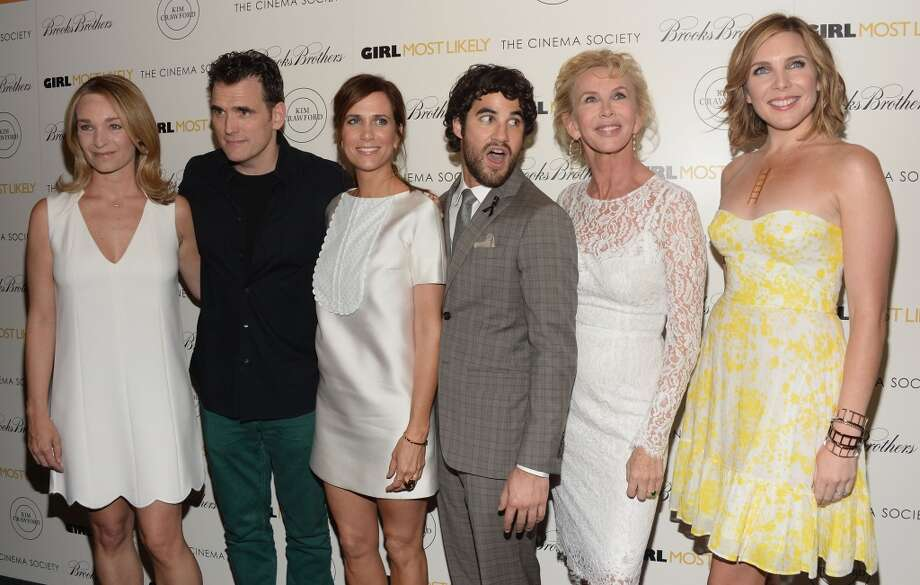 "(L-R) Celine Rattray, Matt Dillon, Kristen Wiig, Darren Criss, Trudie Styler and June Diane Raphael attend the screening of Lionsgate and Roadside Attractions' ""Girl Most Likely"" hosted by The Cinema Society & Brooks Brothers at Landmark's Sunshine Cinema on July 15, 2013 in New York City.  (Photo by Jamie McCarthy/WireImage)"