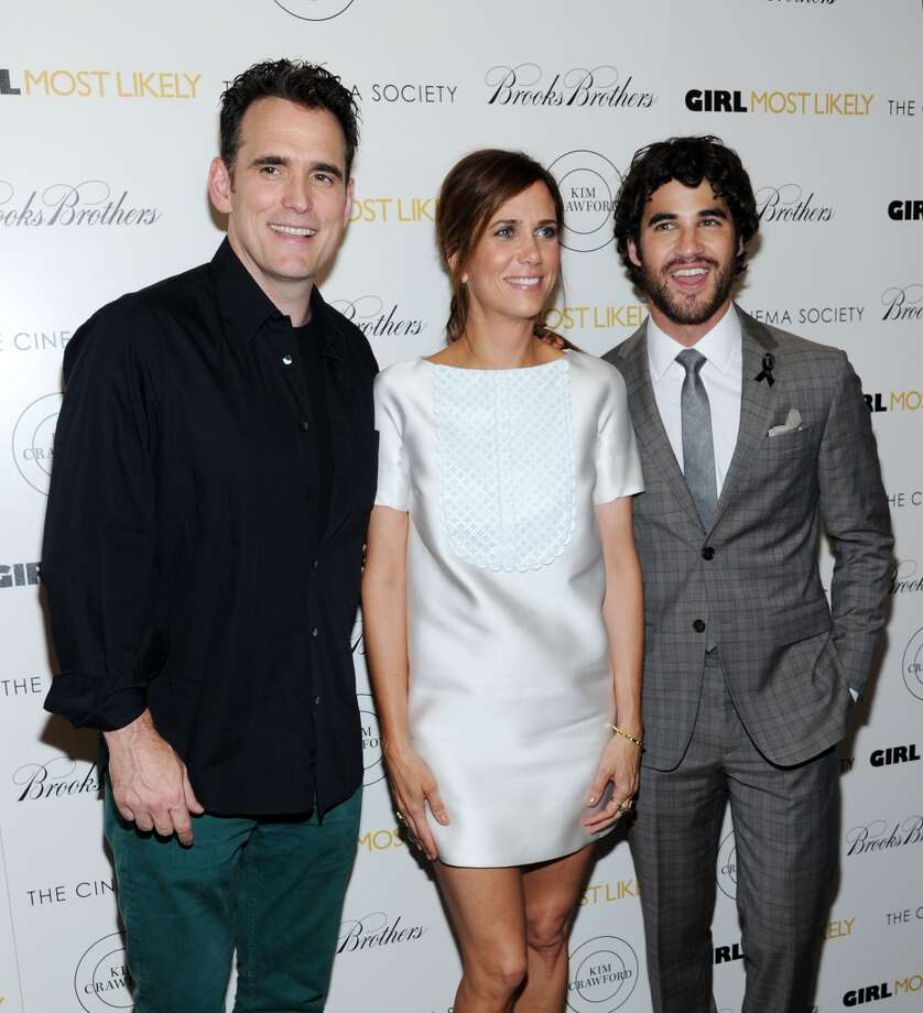 "(L-R) Actors Matt Dillon, Kristen Wiig and Darren Criss attend The Cinema Society & Brooks Brothers Host A Screening Of Lionsgate And Roadside Attractions' ""Girl Most Likely""s at Landmark Sunshine Cinema on July 15, 2013 in New York City.  (Photo by Ilya S. Savenok/FilmMagic)"