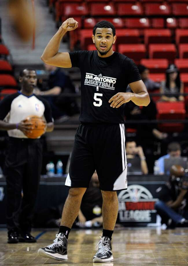 San Antonio's Cory Joseph gestures during a NBA Summer League basketball game against Toronto at the Thomas & Mack Center on Sunday, July 14, 2013 in Las Vegas. (Photo by David Becker)