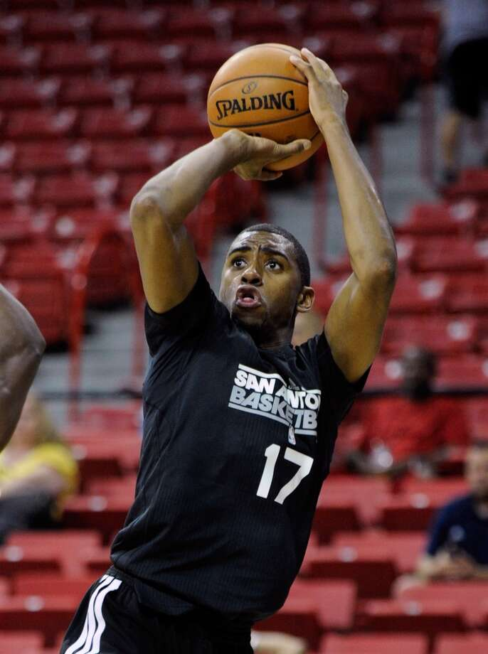 San Antonio's Hollis Thompson shoots against Toronto during a NBA Summer League basketball game at the Thomas & Mack Center on Sunday, July 14, 2013 in Las Vegas. (Photo by David Becker)