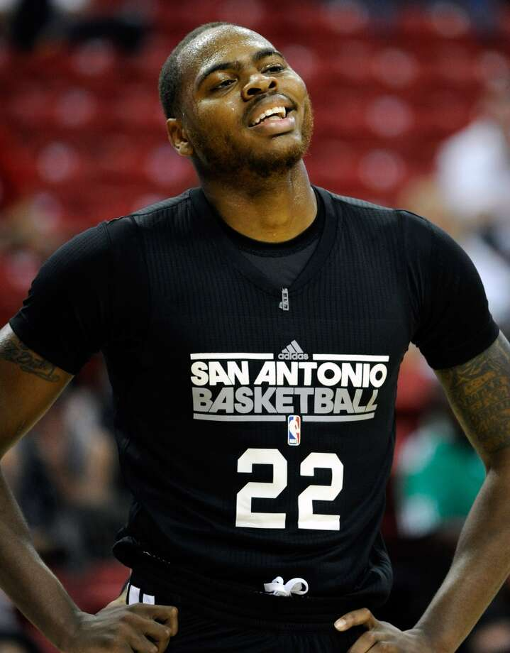 San Antonio's Deshaun Thomas looks on during a NBA Summer League basketball game against Toronto at the Thomas & Mack Center on Sunday, July 14, 2013 in Las Vegas. (Photo by David Becker)