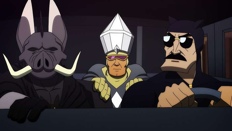"The title character of Fox's ""Axe Cop"" (right) on a night mission with Grey Diamond (center) and Bat Warthog Man. Photo: Fox"
