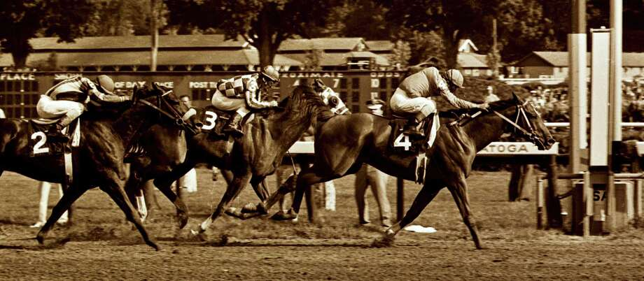 Wilkin Saratoga history project Times Union staff photo by Skip Dickstein -- #4 Onion outduels #3 Secretariat to the wire in the 1973 Whitney at the Saratoga Race Course in Saratoga Springs, New York August of 1973. Photo: SKIP DICKSTEIN / ALBANY TIMES UNION