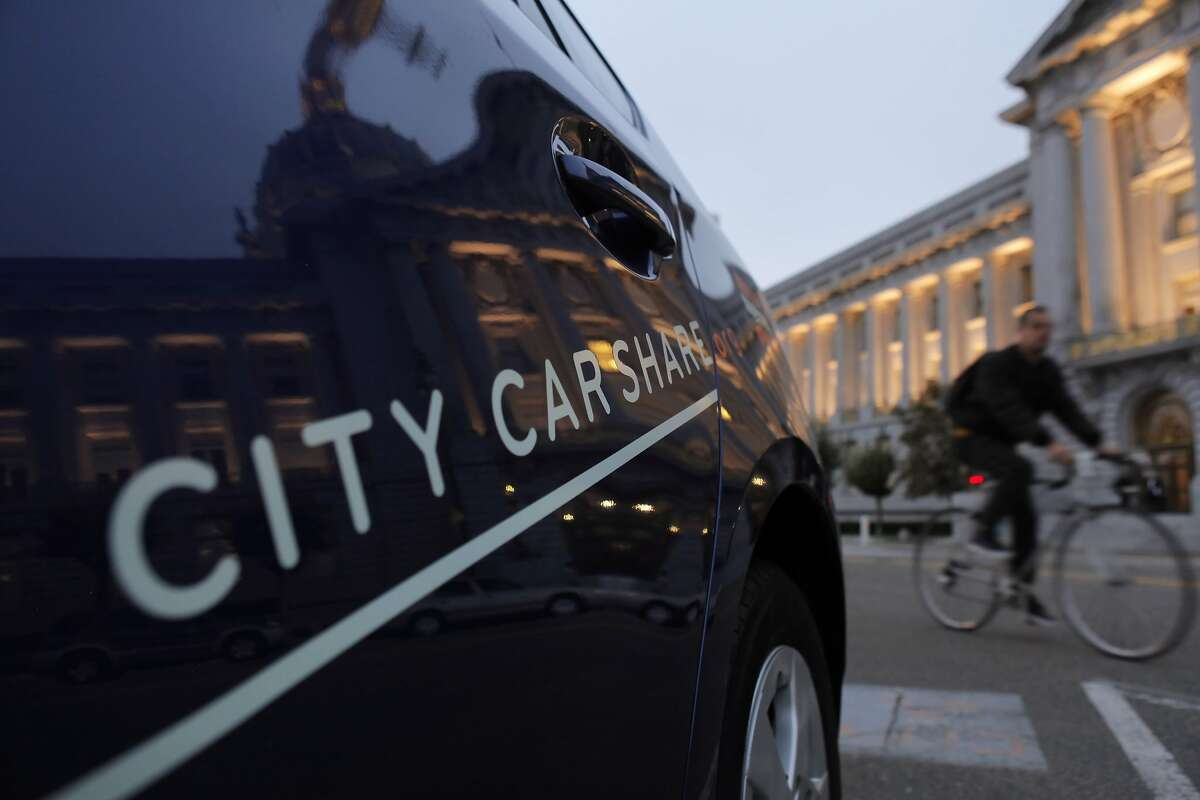 Car2Go is proposing to move into San Francisco where CityCarshare and Zipcar do business. City Carshare cars are seen here on Wednesday, September 12, 2012, at their on-street parking in front of City Hall at Polk and McAllister area.