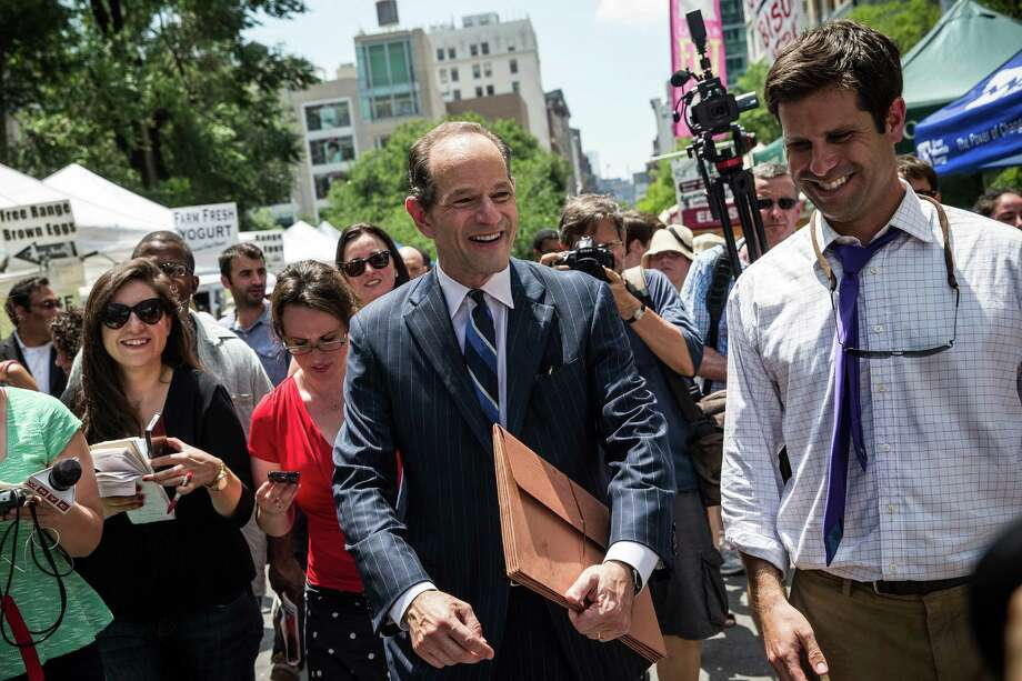 NEW YORK, NY - JULY 08:  Former New York Gov. Eliot Spitzer collects signatures from citizens to run for comptroller of New York City on July 8, 2013 in New York City. Spitzer resigned as governor in 2008 after it was discovered that he was using a high end call girl service.  (Photo by Andrew Burton/Getty Images) ORG XMIT: 173275042 Photo: Andrew Burton / 2013 Getty Images