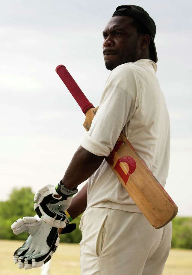 Houston West Indies batsman Travis Wynter prepares to bat during a cricket match against the Houston Indian Cricket Club at George Bush Park on Sunday, June 30, 2013, in Houston. Photo: J. Patric Schneider, For The Chronicle / © 2013 Houston Chronicle