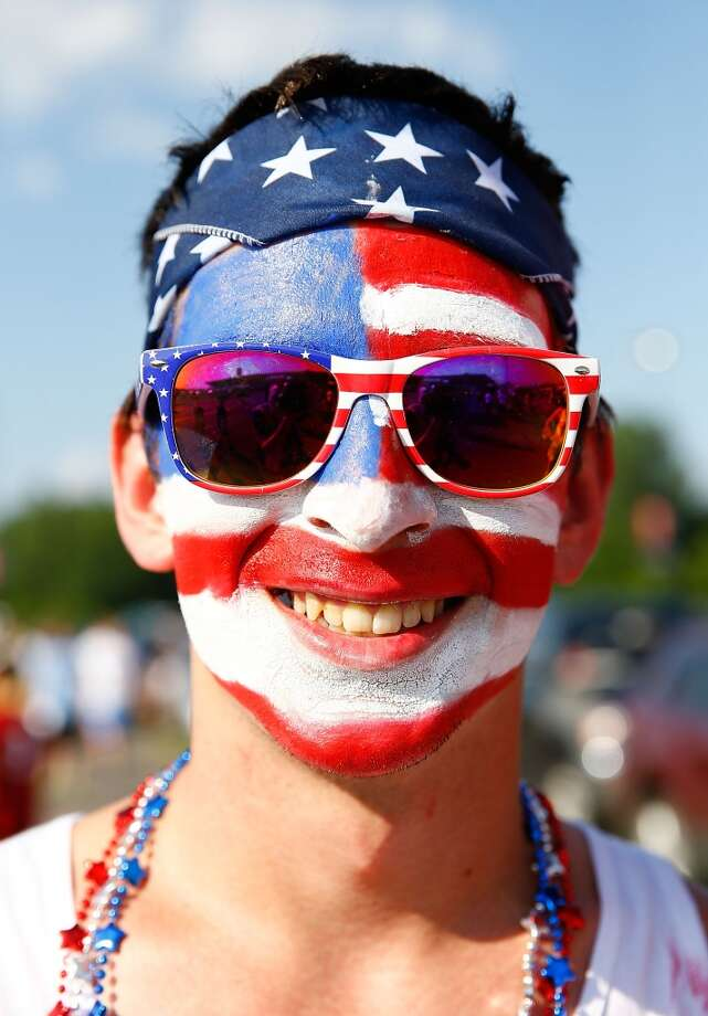 HARTFORD, CT - JULY 16: A fan with a painted face poses for a portrait outside of the stadium prior to the USA vs Costa Rica CONCACAF Gold Cup match at Rentschler Field on July 16, 2013 in East Hartford, Connecticut. (Photo by Jared Wickerham/Getty Images)