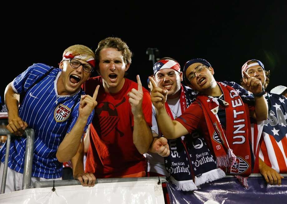 HARTFORD, CT - JULY 16: Fans of the United States cheer in the second half during the CONCACAF Gold Cup match at Rentschler Field on July 16, 2013 in East Hartford, Connecticut. (Photo by Jared Wickerham/Getty Images)