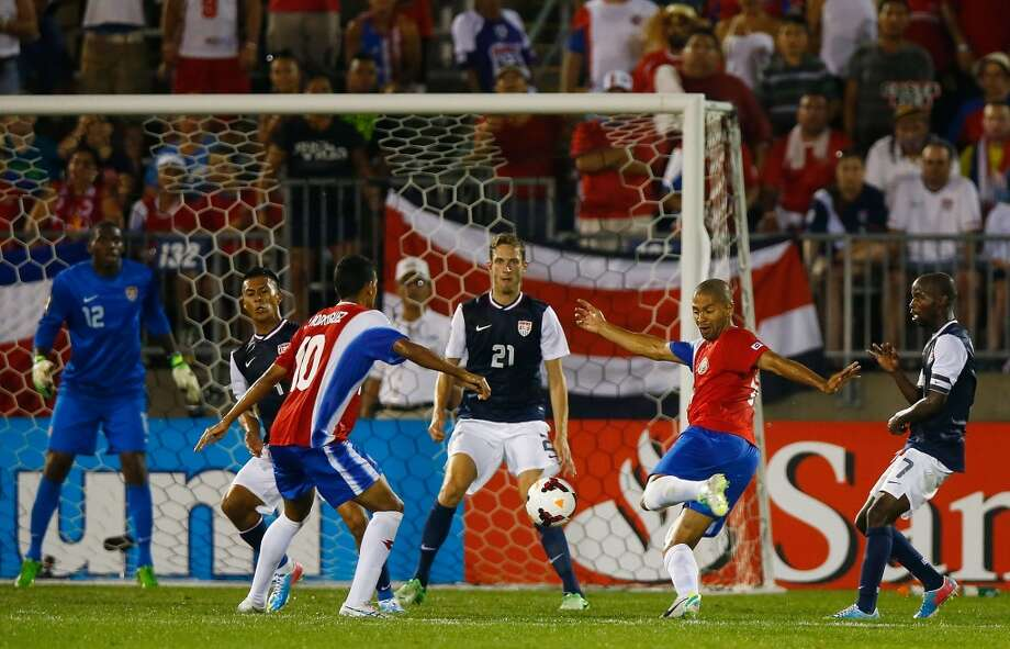HARTFORD, CT - JULY 16: Alvaro Saborio #9 of Costa Rica takes a shot late in the second half against the United States during the CONCACAF Gold Cup match at Rentschler Field on July 16, 2013 in East Hartford, Connecticut. (Photo by Jared Wickerham/Getty Images)