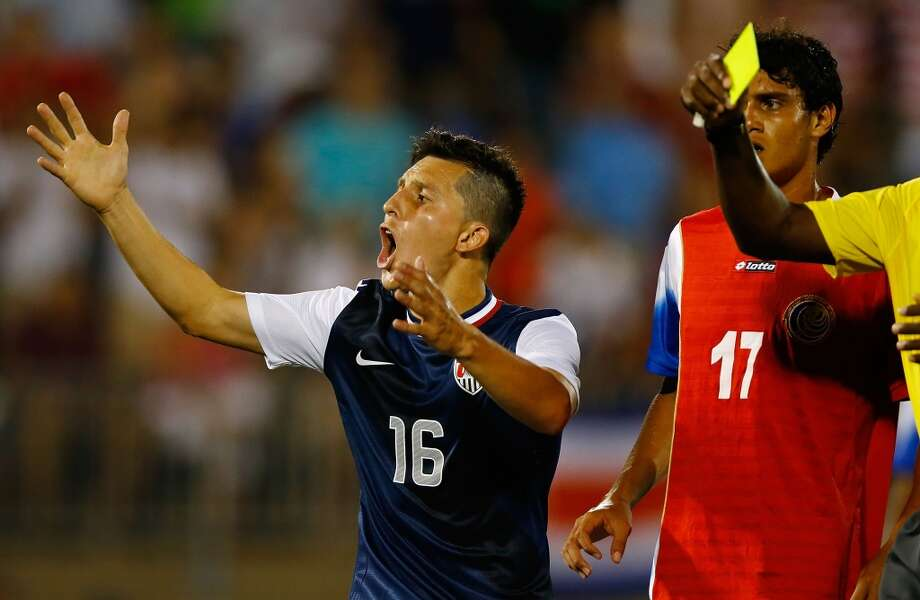 HARTFORD, CT - JULY 16: Jose Torres #16 of the United States reacts after being handed a yellow card in the second half against Costa Rica during the CONCACAF Gold Cup match at Rentschler Field on July 16, 2013 in East Hartford, Connecticut. (Photo by Jared Wickerham/Getty Images)