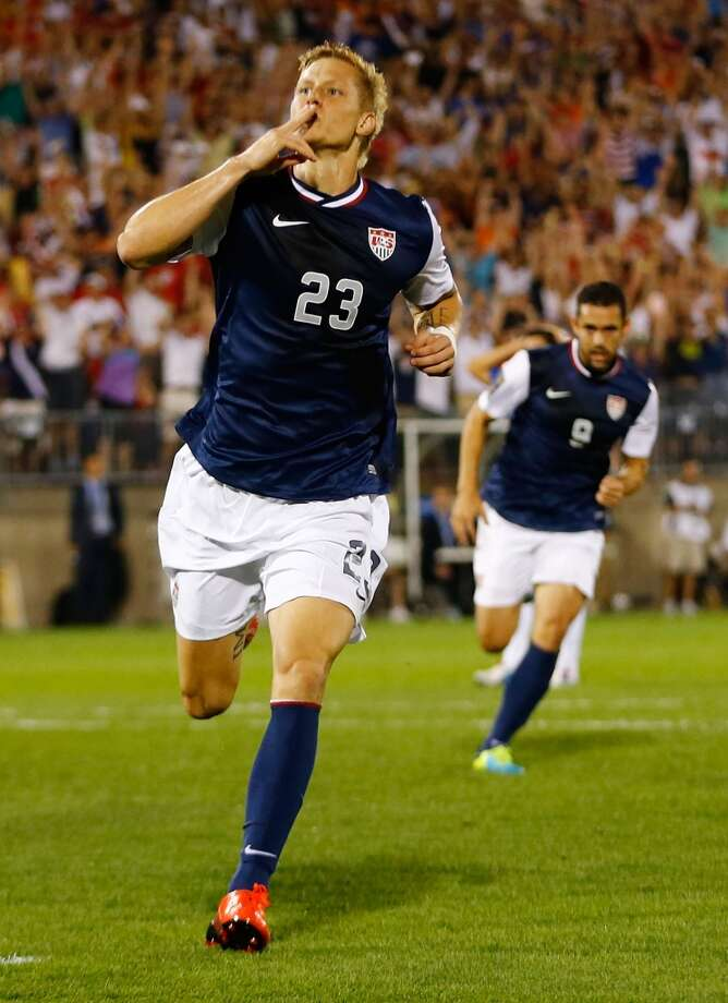 HARTFORD, CT - JULY 16: Brek Shea #23 of the United States celebrates his goal after scoring late in the second half against Costa Rica during the CONCACAF Gold Cup match at Rentschler Field on July 16, 2013 in East Hartford, Connecticut. (Photo by Jared Wickerham/Getty Images)