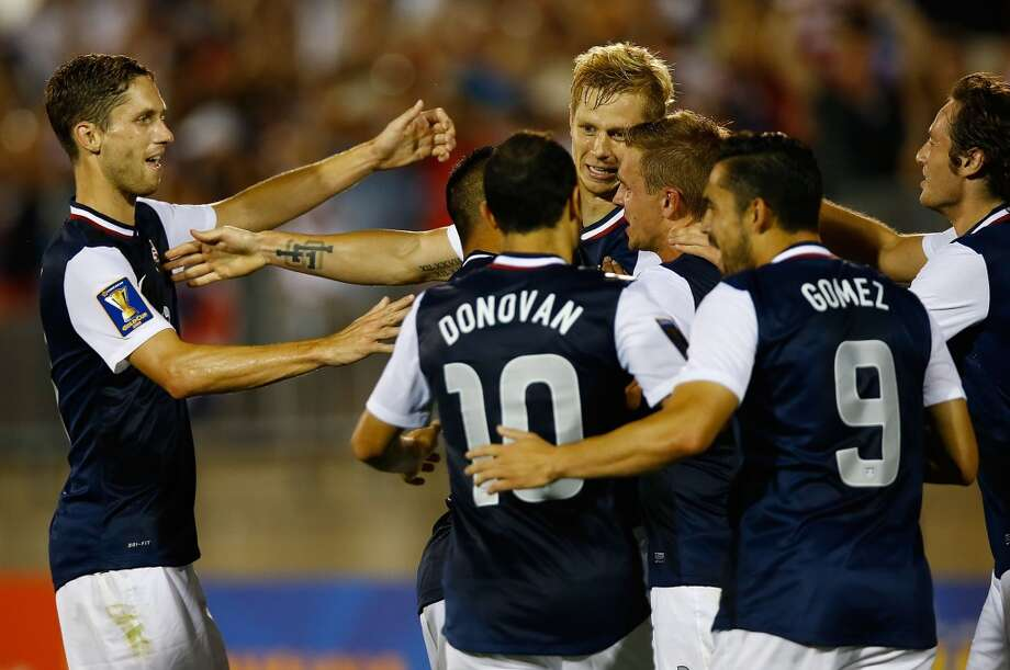 HARTFORD, CT - JULY 16: Brek Shea #23 of the United States celebrates his goal with teammates after scoring late in the second half against Costa Rica during the CONCACAF Gold Cup match at Rentschler Field on July 16, 2013 in East Hartford, Connecticut. (Photo by Jared Wickerham/Getty Images)