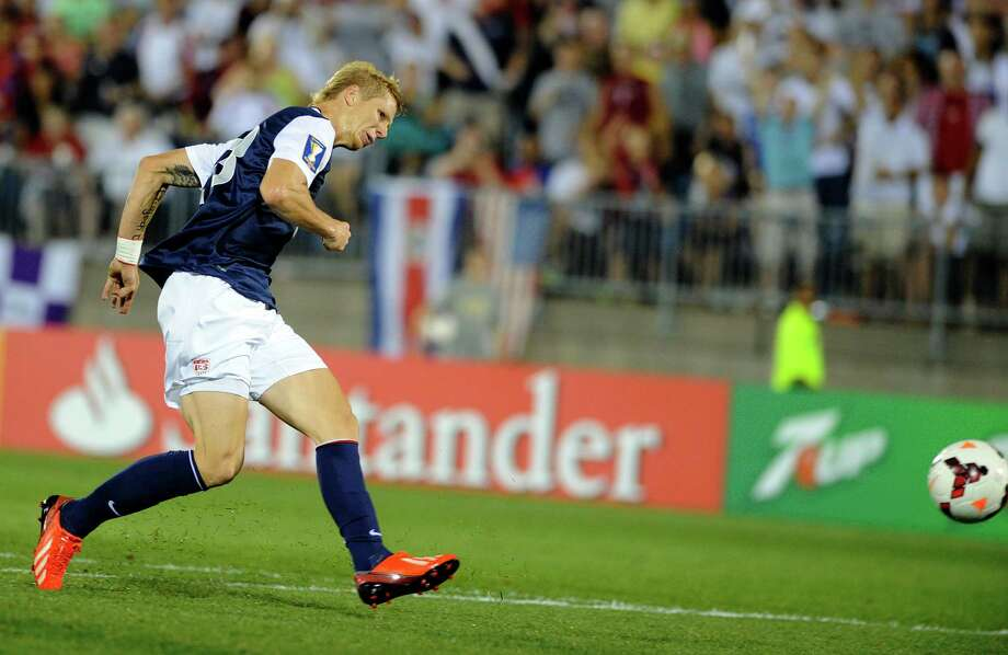 United States' Brek Shea scores a goal against Costa Rica during the second half of a CONCACAF Gold Cup soccer match Tuesday, July 16, 2013, in East Hartford, Conn. The United States won 1-0. Photo: Fred Beckham