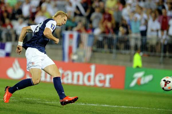 United States' Brek Shea scores a goal against Costa Rica during the second half of a CONCACAF Gold Cup soccer match Tuesday, July 16, 2013, in East Hartford, Conn. The United States won 1-0.
