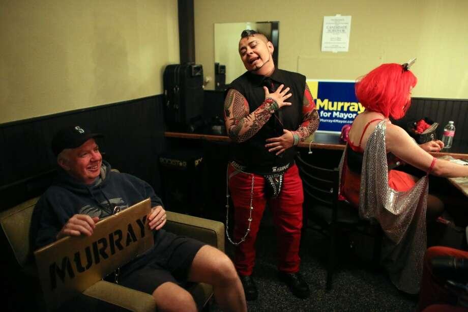 "Senator Ed Murray waits backstage during ""Candidate Survivor,"" a distinctly Seattle twist on local politics. Photo: JOSHUA TRUJILLO, SEATTLEPI.COM"