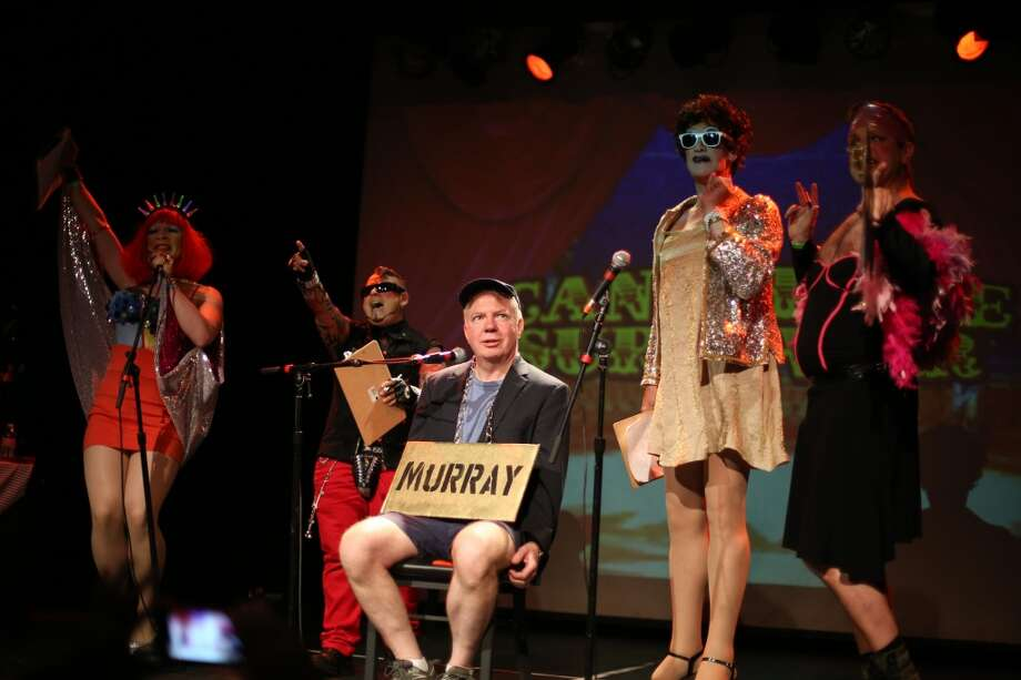 "Senator Ed Murray takes the stage with performers during ""Candidate Survivor."" Photo: JOSHUA TRUJILLO, SEATTLEPI.COM"