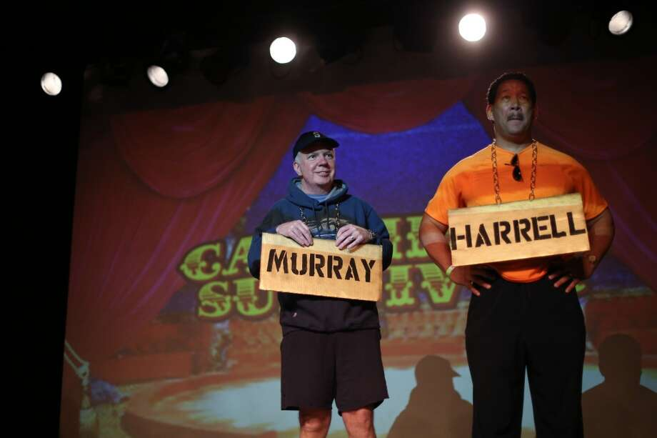 Ed Murray and Bruce Harrell are shown on stage. Photo: JOSHUA TRUJILLO, SEATTLEPI.COM