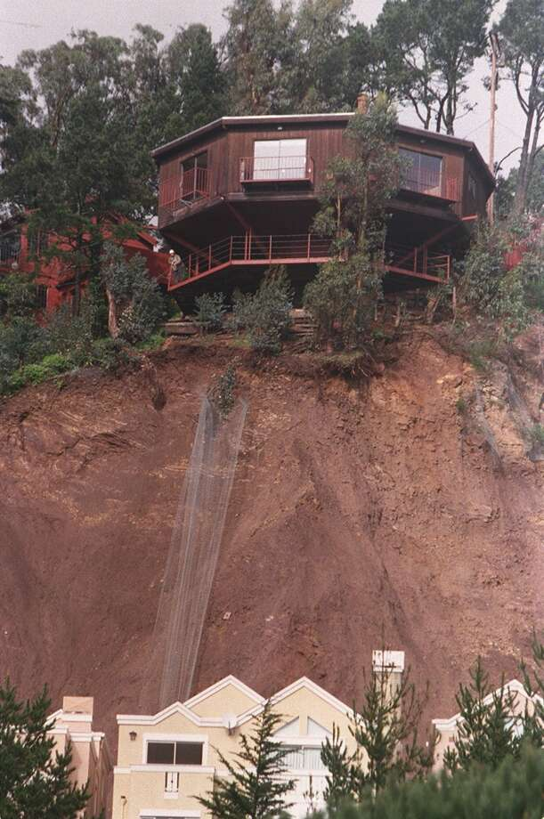Jack LaShelle's Edgehill Way home is seen on January 26, 1997 in San Francisco, Calif. A landslide in January of 1997 closed a section of Edgehill Way and led to homes below on Knockash Hill street to be evacuated for several days.
