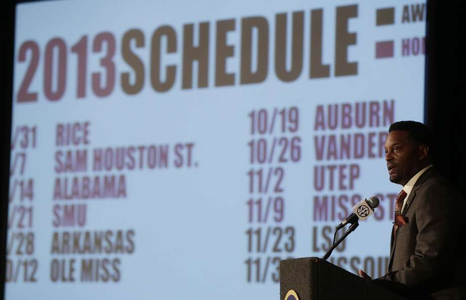 Kevin Sumlin's crew faces a challenging slate in 2013. Photo: Dave Martin, Associated Press