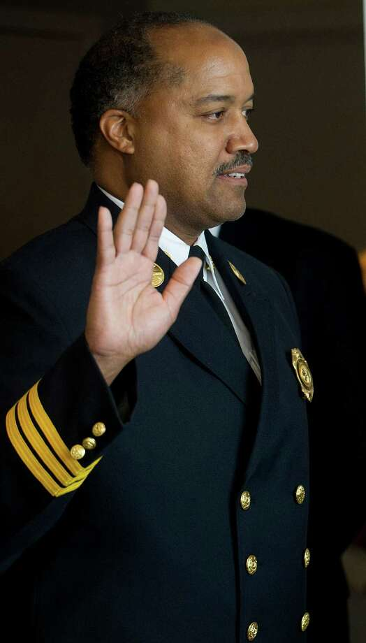 Charles Spaulding is sworn in as chief fire marshal in Stamford, Conn., on Wednesday, July 17, 2013. Photo: Lindsay Perry / Stamford Advocate