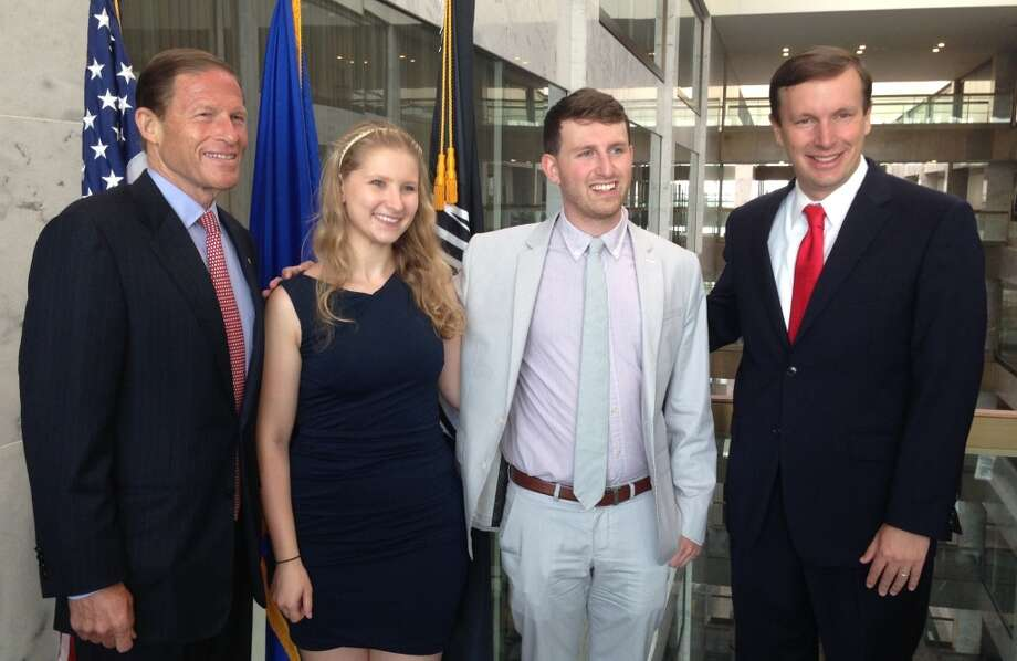 Hannah and Noah Morgenstein of Wallingford brought their students from Choate Rosemary Hall's Kennedy Institute of Government high school summer program to meet Sens. Richard Blumethal, D-Conn., and Chris Murphy, D-Conn., at their inaugural constituent coffee in the Hart Senate office building in Washington, D.C., Wednesday. Senate staff anticipates hosting constituent coffees on a monthly basis.