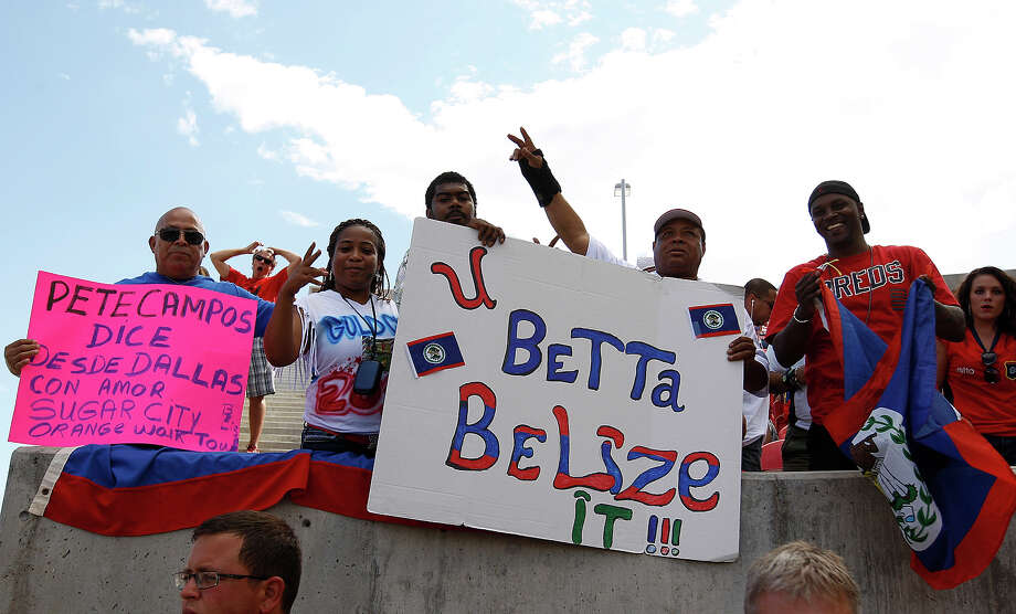 Fans of Belize cheer during a game against Costa Rica during the first half of a CONCACAF Gold Cup match July 13, 2013 at Rio Tinto Stadium in Sandy, Utah. Costa Rica defeated Belize 1-0. Photo: George Frey, Getty Images / 2013 Getty Images