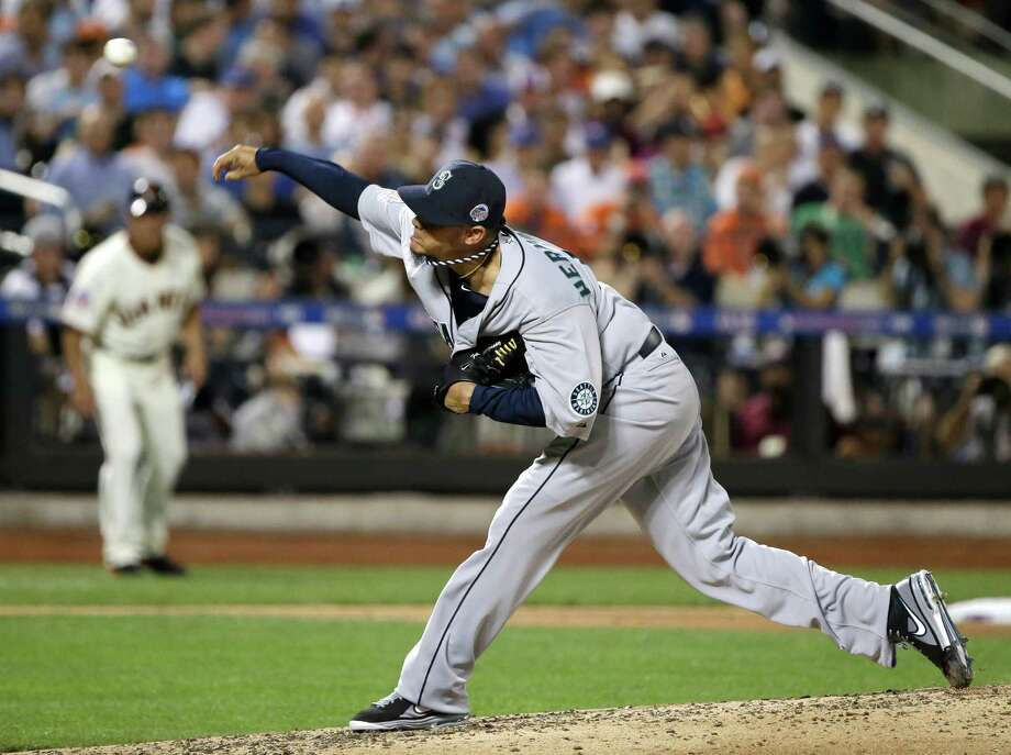 American League's Felix Hernandez, of the Seattle Mariners, pitches during the fourth inning of the MLB All-Star Game on July 16, 2013, in New York. Photo: AP
