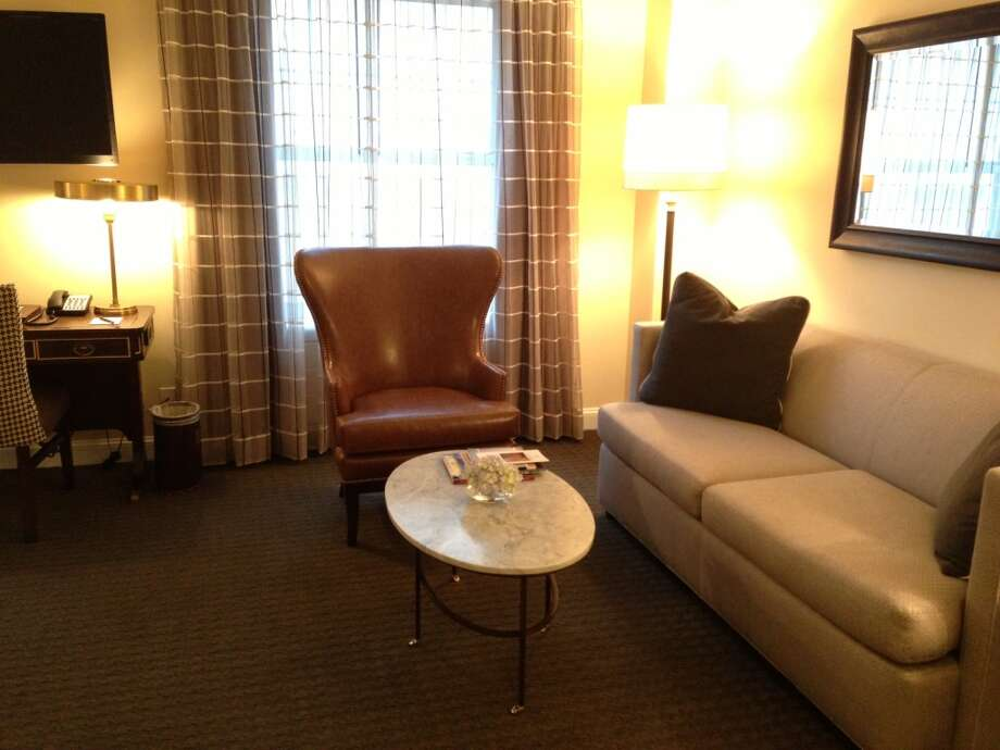The seating area in one of the hotel's 93 guest rooms.